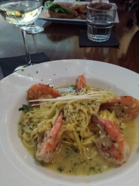 JUMBO SHRIMP SCAMPI Over linguini in white wine and butter sauce