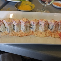 ACEVICHADO ROLL Shrimp katACEVICHADO ROLL Shrimp katsu, avocado, topped with tuna and acevichado saucesu, avocado, topped with tuna and acevichado sauce