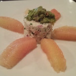 BAY SCALLOPS AND BLUE CRAB SALAD TOPPED WITH AVOCADO And Grapefruit Sections