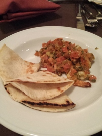 SAUTEED SHRIMP WITH WARM FLOUR TORTILLA Onions, Garlic, and Tomato