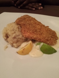 PLANTAIN CRUSTED SNAPPER Mashed Potatoes and Steamed Broccolini