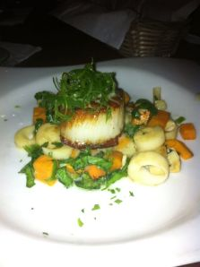 SCALLOP NORMA (pictured) Served over sweet potato, corn, spinach and hearts of palm