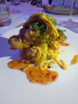 TEMPURA CARIBEAN 6oz LOBSTER TAIL Sweet Chili Butter, Mango Wakame Slaw, and Coconut Rice