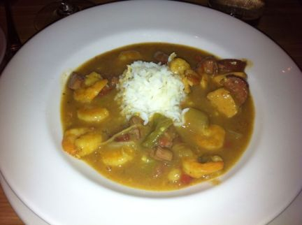 CREOLE GUMBO Shrimp, andouille sausage, crawfish, bacon, beef, ham, chicken, tomato, green peppers