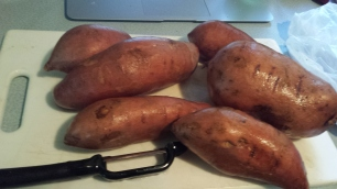 Peel and dice your sweet potatoes