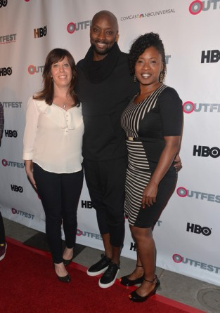 Outfest Executive Director Kirsten Schaffer, director/writer Patrik-Ian Polk and Fusion Head Of Programming Taj Paxton