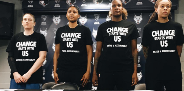 Seimone Augustus and fellow WNBA players protesting police brutality